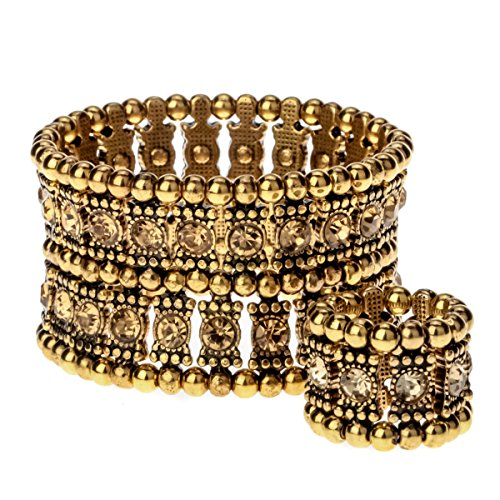 YACQ Jewelry Multilayer Crystal Stretch Cuff Bracelet Ring Sets for Women Gold Silver Black Color