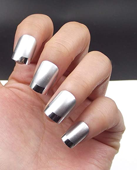 Amazon.com : Fake Nails False Nail Design Pretty Nail Designs Matte White with Silver Fake Nails : Beauty
