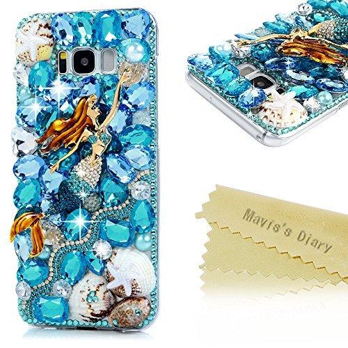 S8 Plus Case,Samsung Galaxy S8 Plus Case 3D Handmade Bling Blue Diamonds Beautiful Mermaid Sea Shells Shiny Sparkle Rhinestone Gems Crystal Clear Full Body Protection Hard PC Cover by Maviss Diary