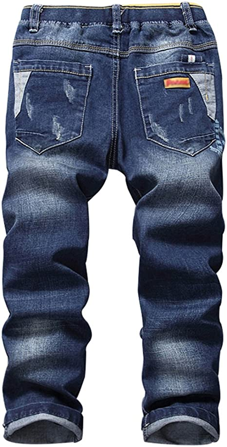 Fineser Kids Little Boys Vintage Jeans Zipper Elastic Waist Stretch Slim Pale Denim Pants