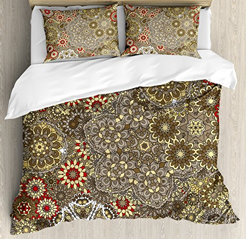Ambesonne Batik Duvet Cover Set King Size, Vintage Paisley Forms with Batik Style Flowers and Circles Moroccan Persian Patterns, Decorative 3 Piece Bedding Set with 2 Pillow Shams, Multicolor (Style Moroccan Duvet)