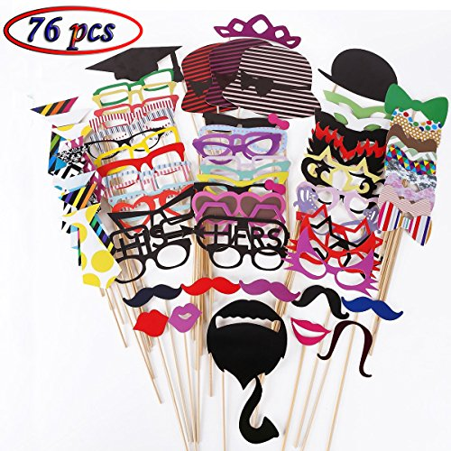 Tresbro Photo Booth Props DIY Kit, Photobooth Props Sticks for Wedding, Engagement, Birthdays, Dress-Up, Graduation Party Favors Ideas Include Glasses, Hats, Mustache, Lips 76 (Seventies Dress Up Ideas)