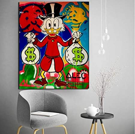 GHKNB Impresiones sobre Lienzo 1 Pieza Alec Monopoly Cartoon Duck with Money Poster Print Wall Art Painting Picture Modern Home Decor con Marcos (40X60Cm): Amazon.es: Hogar