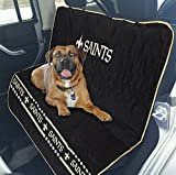 Pets First NFL CAR SEAT Cover – New Orleans Saints Waterproof, Non-Slip Best Football Licensed PET SEAT Cover for Dogs & Cats.