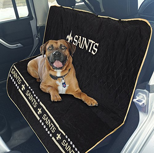 Pets First NFL CAR SEAT Cover - New Orleans Saints Waterproof, Non-Slip Best Football Licensed PET SEAT Cover for Dogs & Cats.