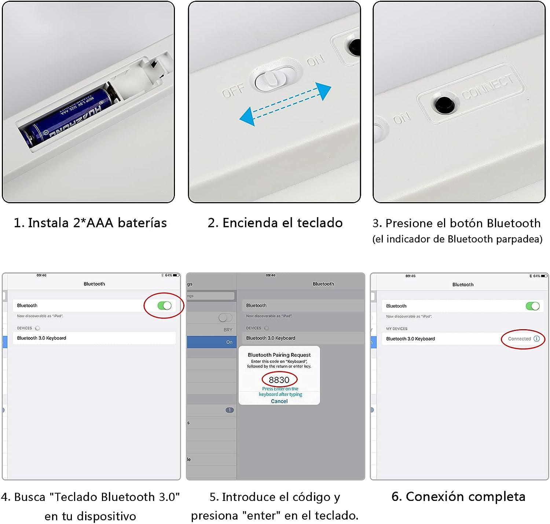 KVAGO Teclado Bluetooth para Tablet iPad Teclado Español Inalámbrico, Samsung, Huawei, Laptop, Keyboard Movible Portátil Ultra-Delgado, Blanco