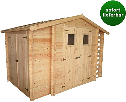 Caseta de jardín de hierro – 3, 12 x 2, 00 m de listones de 19 mm con espacio extra y soporte para leña.: Amazon.es: Jardín