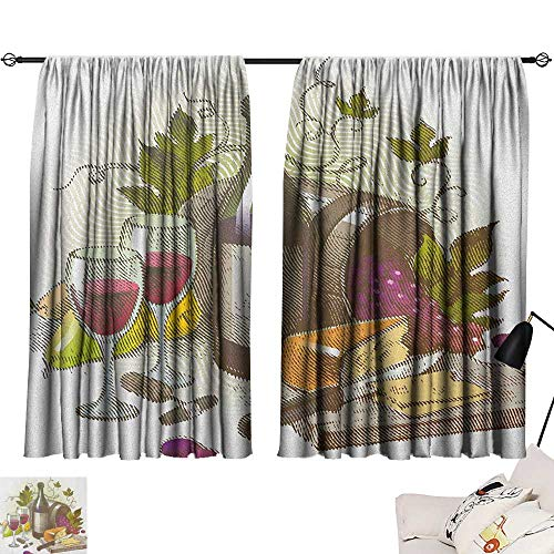 """Decorative Curtains For Living Room Wine,Vintage Style Composition with Wine and Cheese Fruits Gourmet Taste Beverage and Food, Multicolor 72""""x84"""",Home Garden Bedroom Outdoor Indoor Wall Decorations from homehot"""