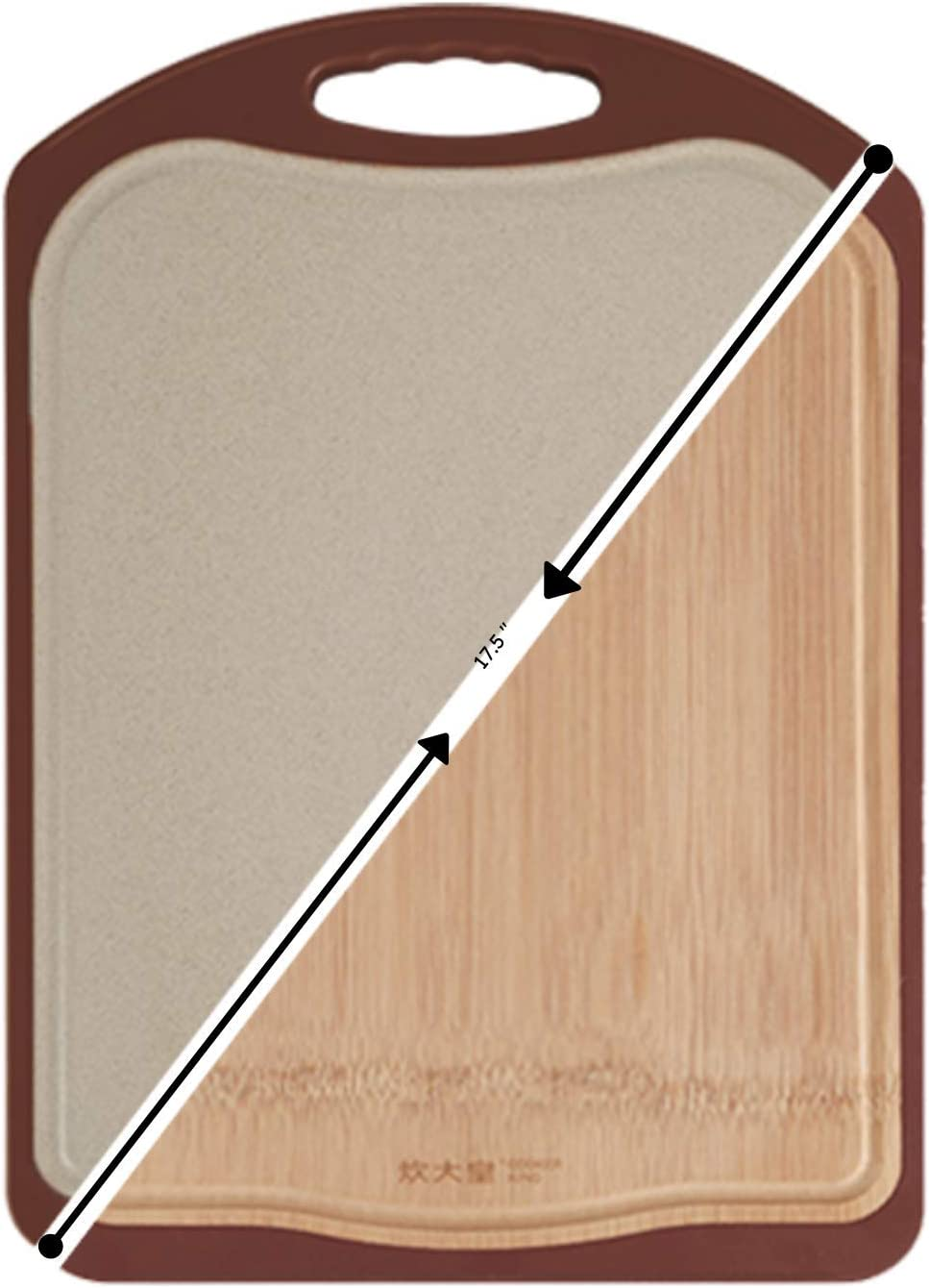 COOKER KING Double Sided Cutting Board - Bamboo Wood & Natural Wheat Fibers - Butcher Block With Handle & Juice Groove, Kitchen Chopping Board for Meat, Cheese, Vegetables, Large Chopping Block, 15 IN