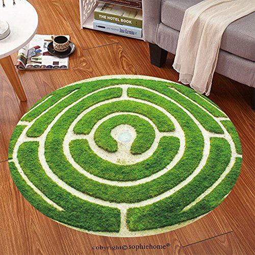 (Sophiehome Soft Carpet 118597075 Chartres (Eure et Loir, Centre, France) Circular labyrinth in a garden Anti-skid Carpet Round 72 inches)