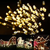 LTE 100 LED Solar Fairy Lights , 55ft , Outdoor Waterproof LED Solar String Lights, Ideal for Decoraions, Party, Gardens , Weddings,Parties.(Warm White)