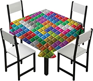 Iuvolux Floral Tablecloth, Colorful Retro Gaming Computer Brick Blocks Image Puzzle Digital 90's Play, Washable Polyester Tabletop Decoration 50