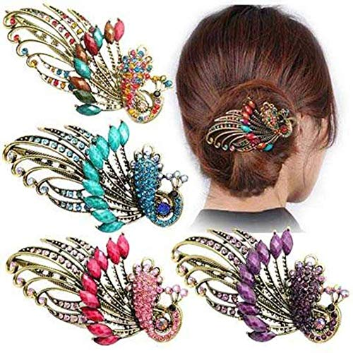 Classic Retro Peacock Duckbill Clip High-grade Rhinestone Big Horizontal Hairpin Bride