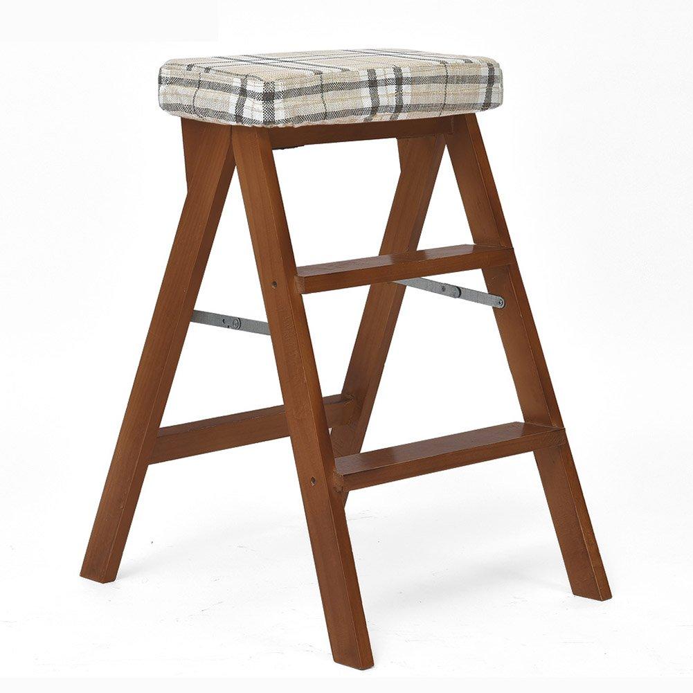 折りたたみ梯子スツールソリッドウッドステップスツール木製ユーティリティステップスツールスツールセーフウォールナットカラー (色 : Striped) B07D683TL6 Striped Striped