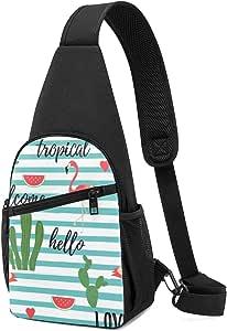 PGTry Tropical Background con Flamingos Sandía Cactus Sling Bag Mochila de hombro ligera para el pecho, bolso cruzado de viaje, senderismo, para hombres y mujeres
