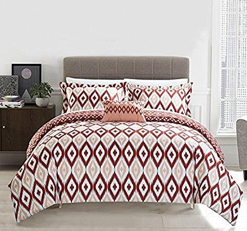 Chic Home 4 Piece Normani Reversible Ikat Diamond and Contemporary Geometric Pattern Print Technique King Duvet Cover Set Brick