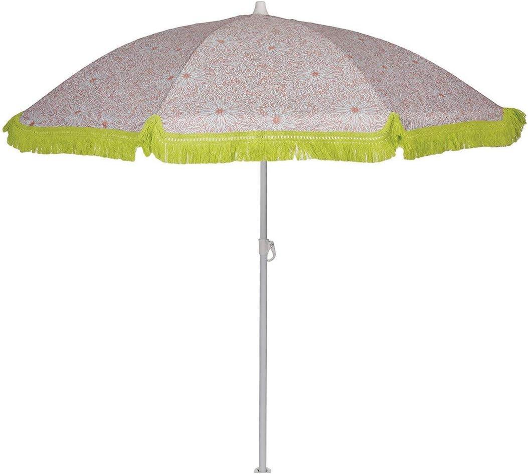 EZPELETA Sombrilla de Playa. Parasol de Playa. Ligero y Plegable de Acero. Paraguas Sol 160cm. Protección Solar UPF 50+. Estampado Flores/Cuadros/Rayas. Incluye Funda/Bolsa. - Flores-Coral