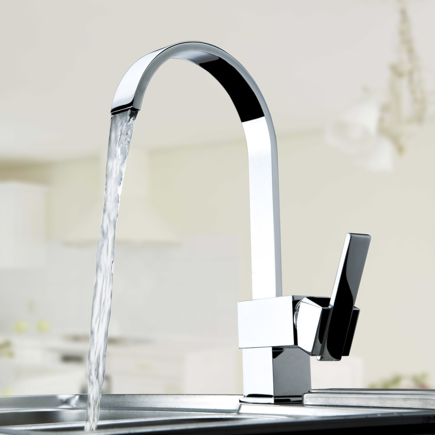 Single Handle Kitchen Vessel Sink Faucet Tall Curve with Swivel ...