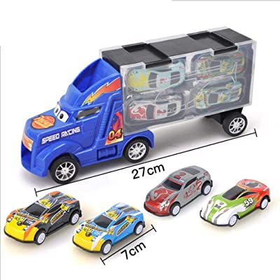 HOTUEEN Toy Truck Transport Car Carrier with 4 Toy Cars Gift for Children Toy RC Vehicles: Clothing