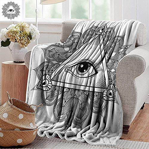 PearlRolan Ultra Soft Flannel Blanket,Eye,Vintage All Seeing Eye Tattoo Symbol with Boho Mandala Providence Spirit Occultism,Black White,Lightweight Microfiber,All Season for Couch or Bed 70