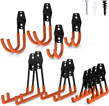 3-H Garage Storage Utility Doppio Ganci Confezione da 12 confezione da 6 Heavy Duty Wall Mount Organizer Tool Hanger con rivestimento antiscivolo arancione supporto scopa mocio