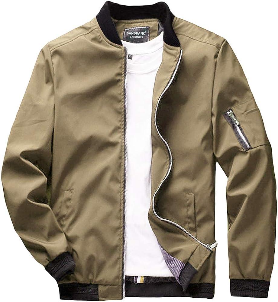 sandbank Men/'s Slim Fit Lightweight Sportswear Flight Bomber Jacket Softshell Casual Coat