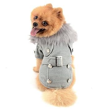 ZUNEA cazadora de lana europea pequeño perro gato abrigos de invierno chaqueta traje de neopreno vellón caliente pechos cruzados ropa para mascotas ropa ...