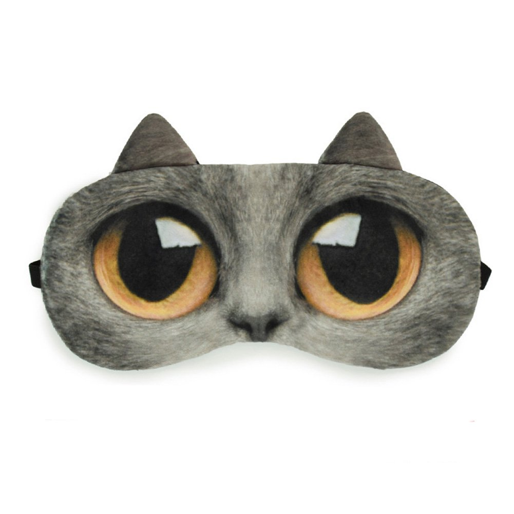 Zabrina Fuuny Creative Animated Cartoon 3D Cat Eyes Meow Sleep Mask Ice Pack Patch for Hot & Cold Therapy Light Shading Cover, Deep Grep