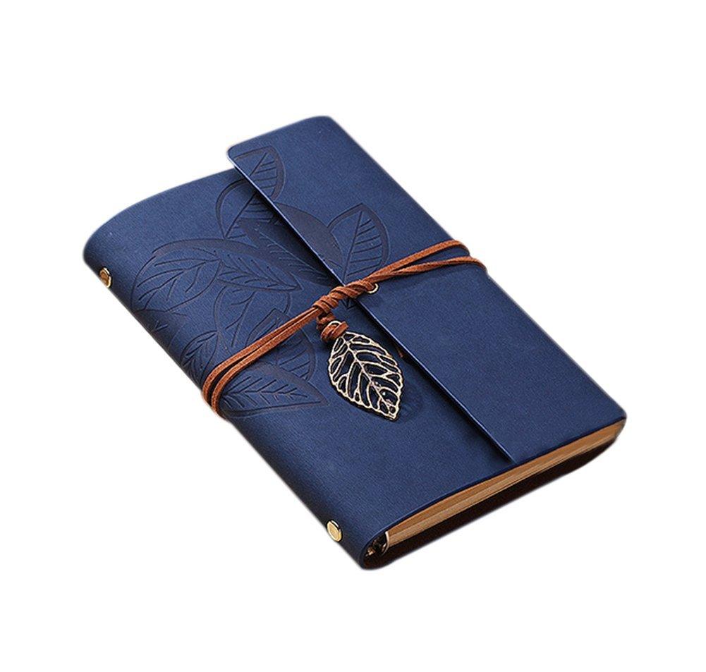Cosanter, taccuino vintage in similpelle a fogli mobili, colore blu scuro