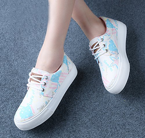 Pink Aisun Sneakers Platform Painting Canvas Aisun Womens Colored Casual Womens 4zwa6q