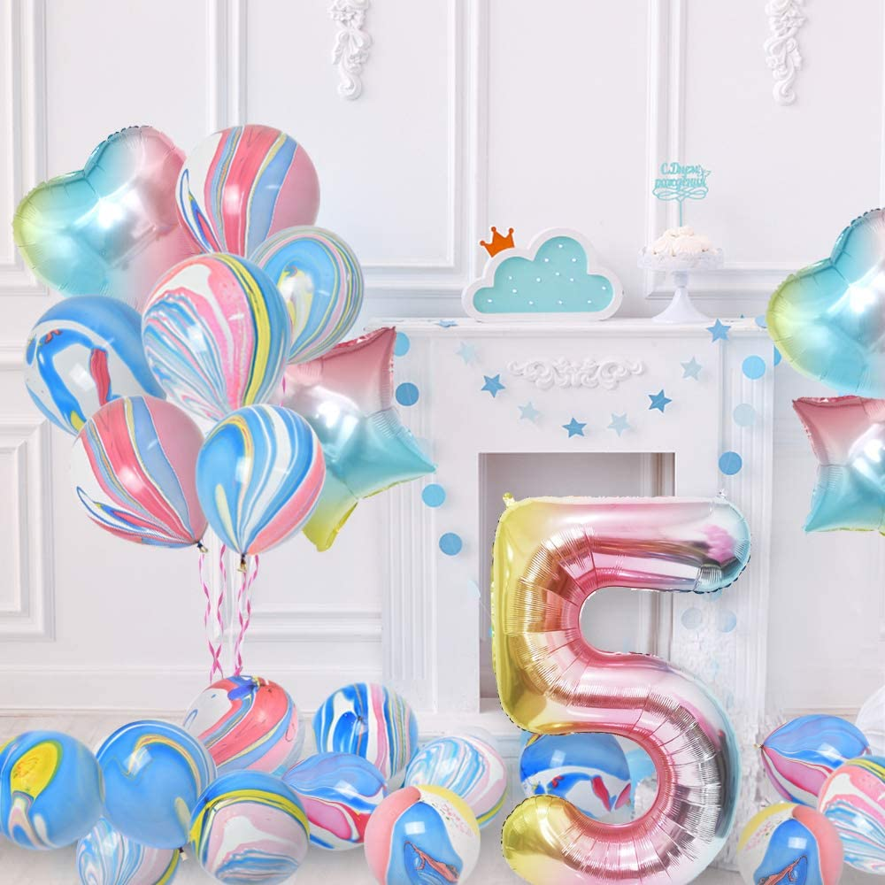 KUNGYO Rainbow 5th Birthday Party Decorations Giant Number 5 Foil Balloon Latex Balloons 28PCS Girls Birthday Party Supplies Include HAPPY BIRTHDAY Balloon Banner Rainbow Star and Heart Balloon