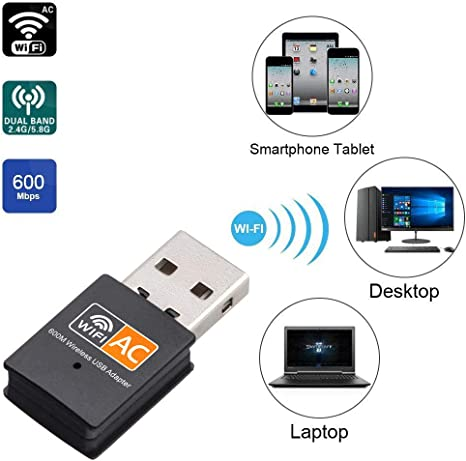 Adaptador USB WiFi inalámbrico de 600 Mbps, mini antena WiFi ...