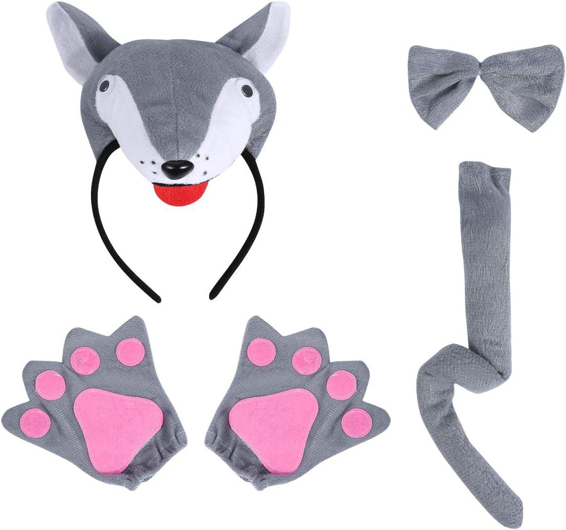 PRETYZOOM 4pcs Disfraz de Labo para Niños Conjunto de Diadema con Orejas Animal Guantes Cola y Pajarita Traje de Costume para Fiesta Carnaval