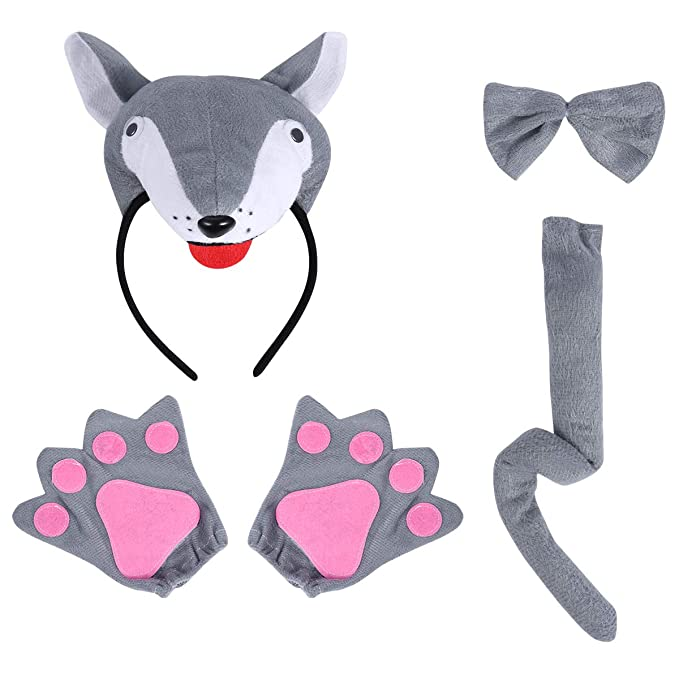 Amazon.com: FENICAL Wolf Headband Bowtie Tail Gloves Animal ...