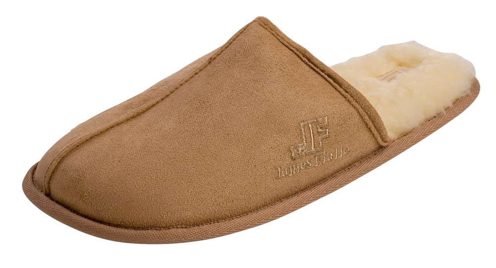 J. Fiallo Mens Fleece Lined Velour Scuff House Slipper With Classy Imprinted Emblem (M (8.5-9.5), Camel)