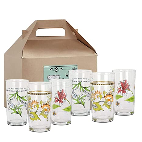 Fishs Eddy Floral Italian Wine Glasses Gift Box Set Of 6