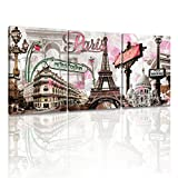 new york and paris wall art - DongLin Art-New York Painting Pink Paris Eiffel Tower Paintings Wall Art Decor Oil Paintings for Living Room Decor Framed and Stretched (30 x 40 x 3pcs, Pink Paris Eiffel Tower)
