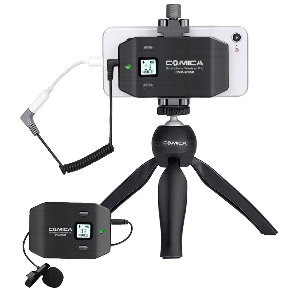 Comica CVM-WS50(C) Wireless Smart Phone Lavalier Microphone System, with UHF 6 Channels, 194FT Wireless Range, Built-in Chargable Battery, Microphone for iPhone Samsung Huawei and More by comica