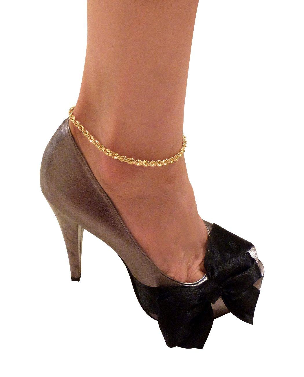 Women's Gold-Tone 10 Various Chain Ankle Bracelet Anklet NYFASHION101 XAK8003