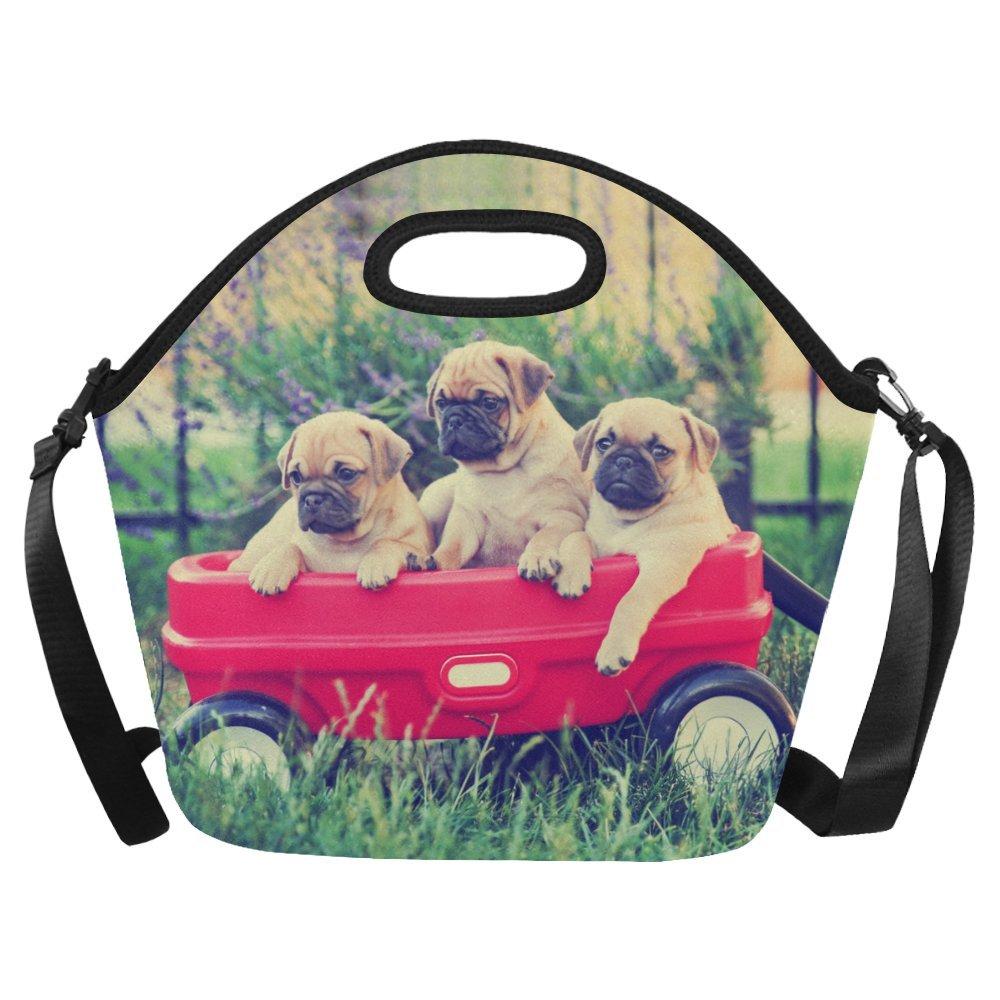 InterestPrint Large Insulated Lunch Tote Bag Funny Pug Dog Animals Reusable Neoprene Cooler, Vintage Red Wagon Portable Lunchbox Handbag with Shoulder Strap