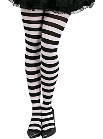 d2407333f1fca Ladies Halloween Black And White Stripe Tights: Amazon.co.uk: Clothing