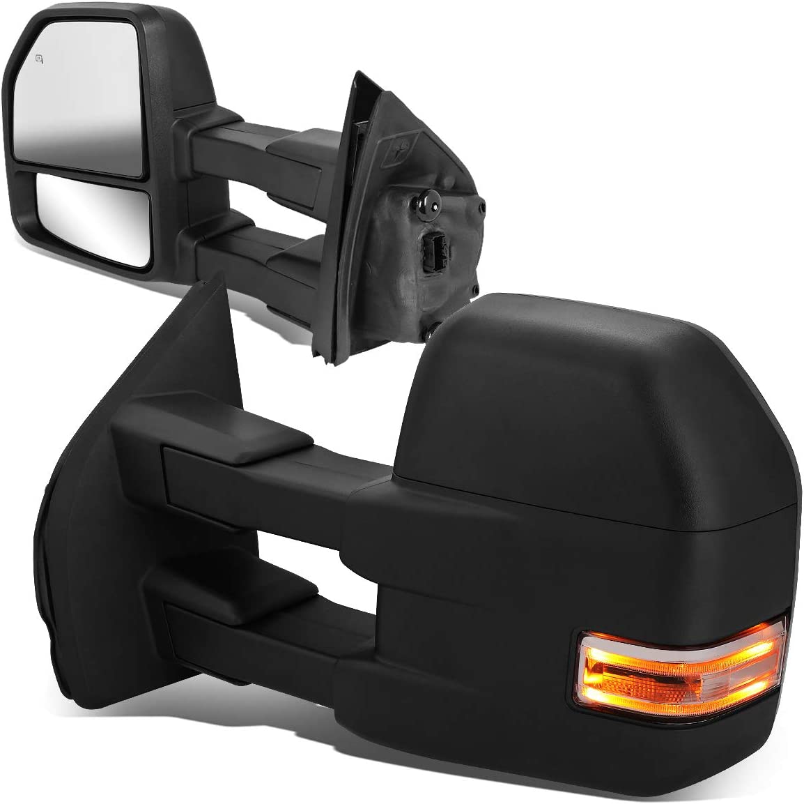 ,Black Smoke DNA MOTORING TWM-030-T888-BK-SM-L Powered+Heated Towing Mirror Set w//LED Turn Signal Left//Driver