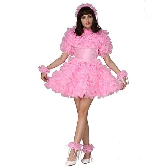 Gocebaby Women Sissy Lockable Pink Satin Organza Puffy Dress Uniform:  Amazon.co.uk: Clothing