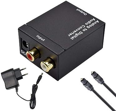 Ozvavzk Convertidor Analógico a Digital,Analógico Audio Estéreo L/R RCA a Digital con Óptico Cable de óptica Coaxial Toslink SPDIF Adaptador Audio: Amazon.es: Electrónica