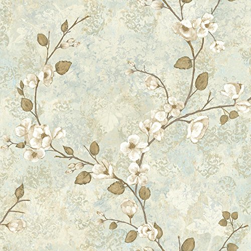 York Wallcoverings TB4315 Charlotte Dogwood Wallpaper, Cream/Pale Taupe/Grey/Blue/Blue/Tan/Brown