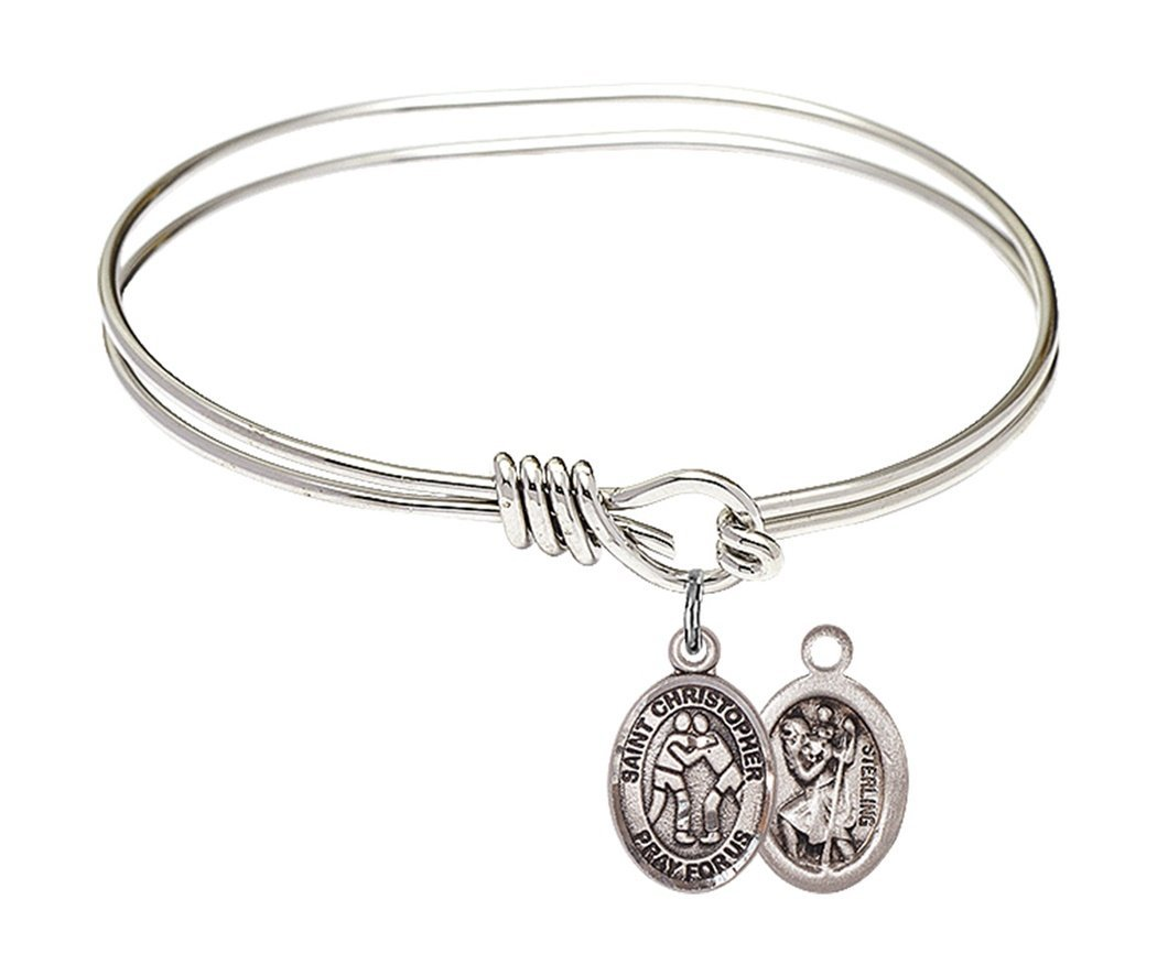 Rhodium Plate Twist Bangle Bracelet with Saint Christopher Wrestling Athlete Petite Charm, 5 3/4 Inch