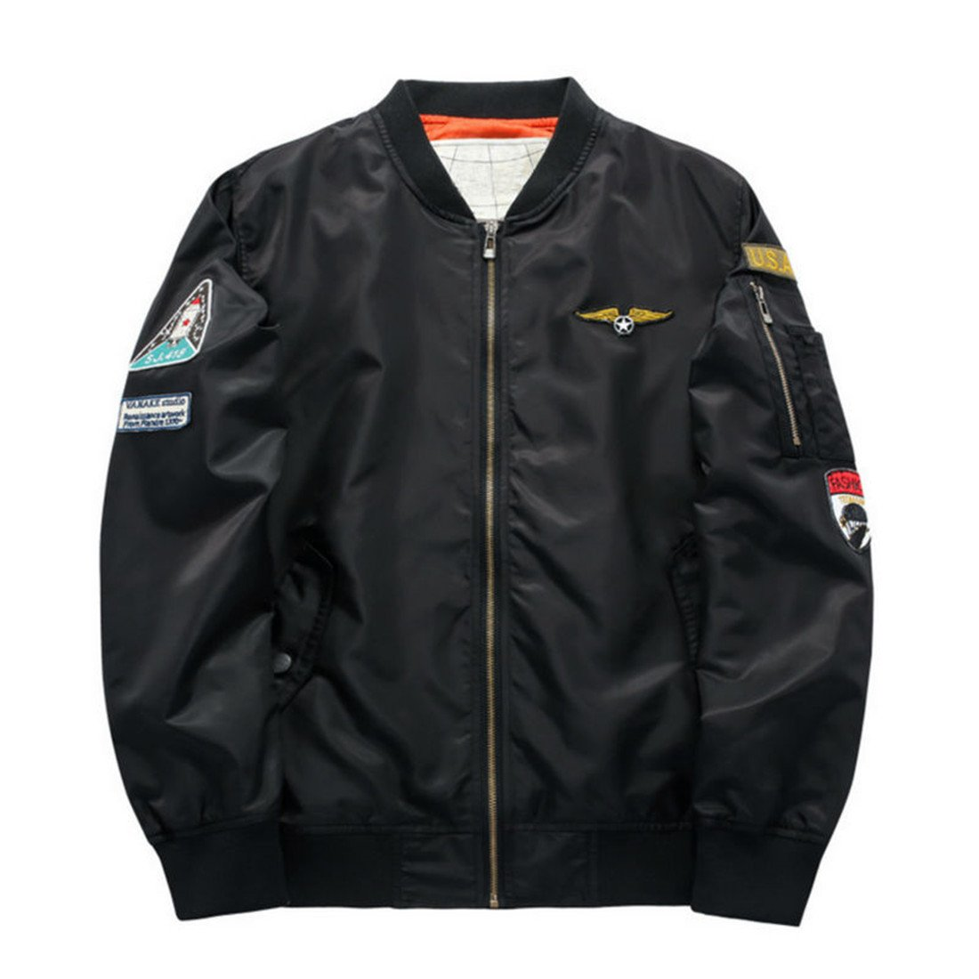 Hzcx Fashion men's classic usa flag badge light weight flight bomber jackets 2016111-MA01-58-B-US XL(48) TAG 5XL