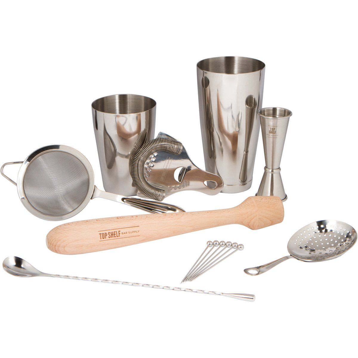 Premium Bar Set for Professional Bartenders: 14 Piece Bartending Set for World-Class Bars. Tools Included: Boston Shaker, all three Cocktail Strainers, Jigger, Muddler, Spoon & 6 Cocktail Picks