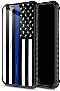 iPhone 6s Plus Case, Blue line American Flag iPhone 6 Plus Cases, Tempered Glass Back+Soft Silicone TPU Shock Protective Case for Apple iPhone 6/6s Plus