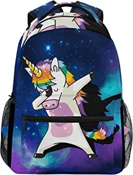 Wamika Dabbing Unicorn Backpacks Nebula Galaxy Laptop Book Bag Cute Funny Casual